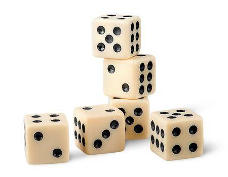 Six gaming dice