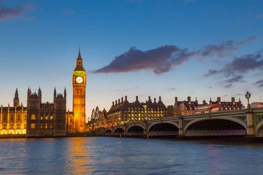 Big Ben and Westminster at dusk, London, UK.
