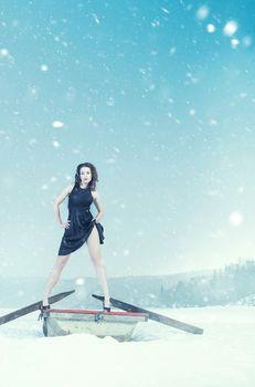 romance attractive fashion girl, winter weather and snow scene