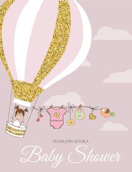 Beautiful baby shower card template with golden glittering deta