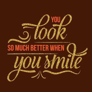 Beautiful quote with golden glittering details
