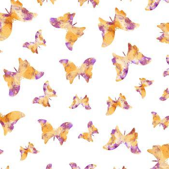 Seamless watercolor butterflies pattern