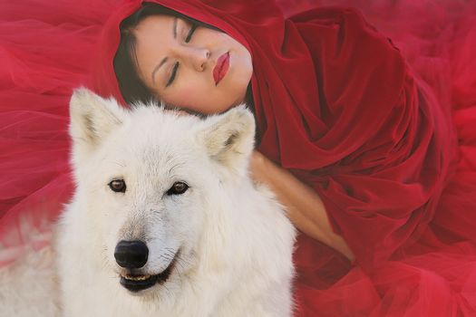 Woman and Wolf Living in Harmony