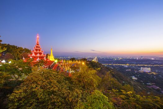 Golden Pagoda on Mandalay Hill, Mandalay, Myanmar