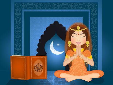 Islamic woman reads the Koran