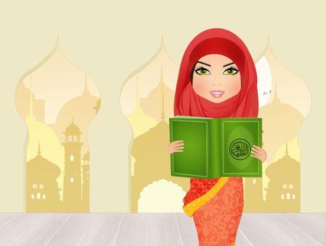 Islamic woman with the Koran