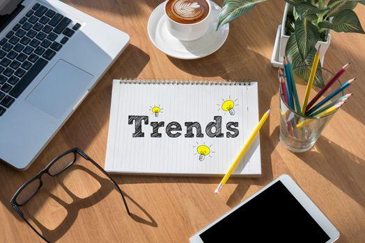 modern office desktop top view, Trends