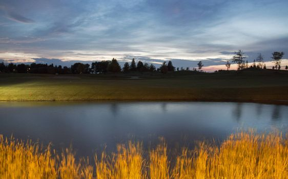 Dusk at a pond in Minnesota on the Fourth of July.