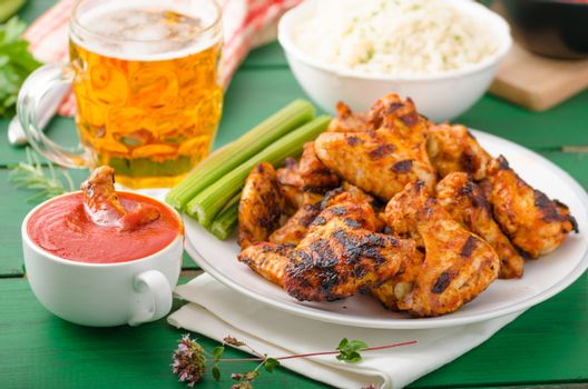 Barbecue grilled chicken wing