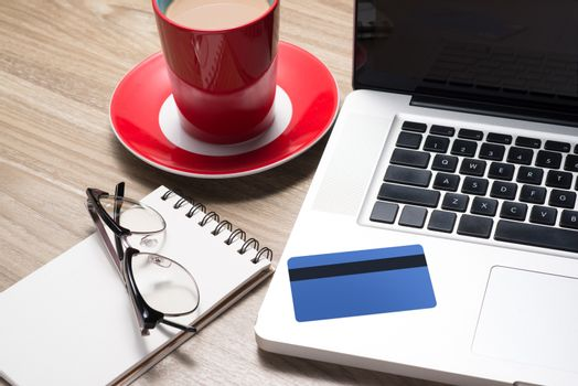 On-line shopping on the internet using a laptop