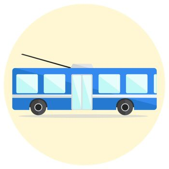 Colorful flat vector trolley bus icon, blue trolleybus icon
