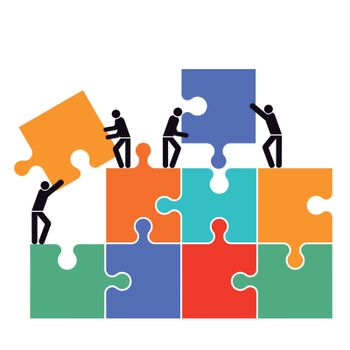 Cooperation in the group icon illustration