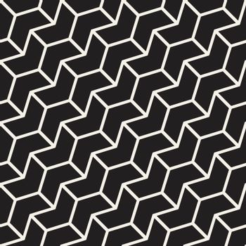 Seamless vector pattern. Abstract geometric lattice background. Rhythmic zigzag structure. Monochrome texture with chevron lines.