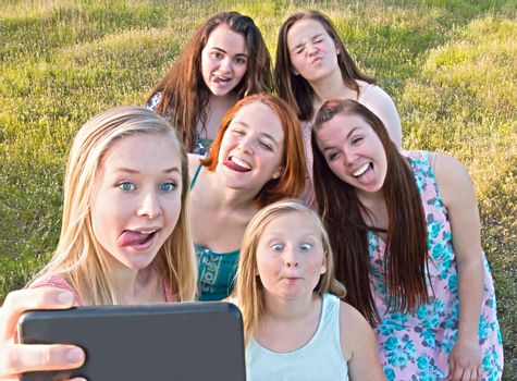 Group of Young Girls Taking a Selfie