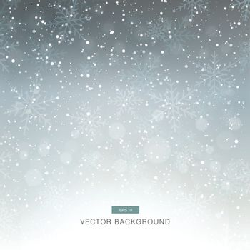 falling snow on the grey background vector