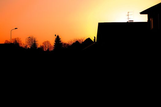 Evening townscape silhouette