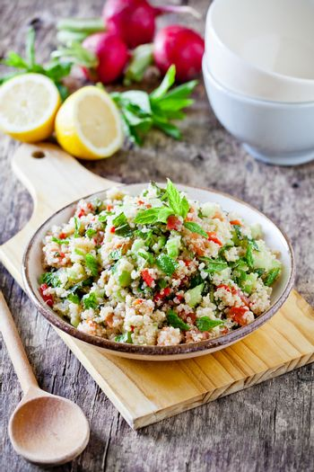Homemade Refreshing Quinoa And Vegetables Salad