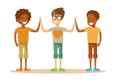 mixed-race Pupils giving each other a high five