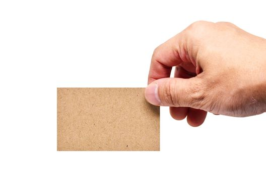 adult man hand holding card isolated on white background copy space clipping path
