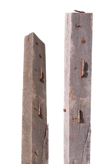 rusty nail on crack wood isolated on white background clipping path
