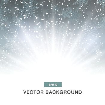 falling snow on the grey background with magic light vector
