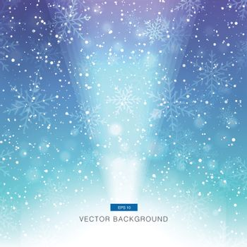 falling snow on the blue and purple background with light vector