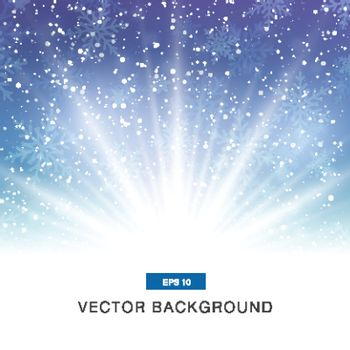 falling snow on the blue and purple background with magic light vector