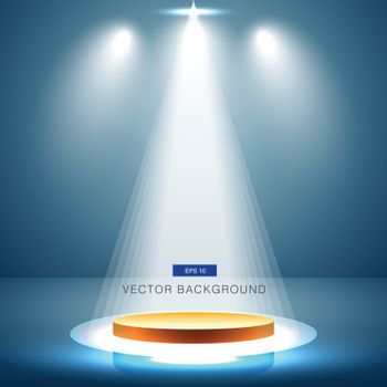 gold stage with spotlight blue background vector