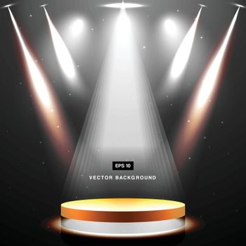 gold stage with spotlight and star on black background vector