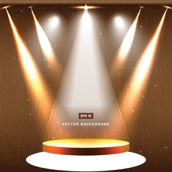 gold stage with spotlight and star on wood background vector