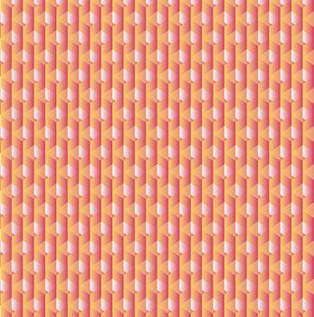 Vector geometric cubes pattern, retro seamless background