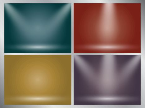 Set of clear empty studio light vector earth tone backgrounds for product presentation