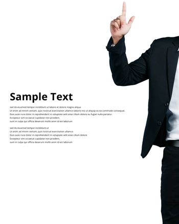 Businessman wearing in a suit pointing showing copy space, isolated on white background sample text clipping path