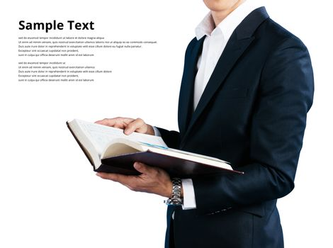 Businessman wearing in a suit wearing suit, holding book isolated on white background sample text clipping path