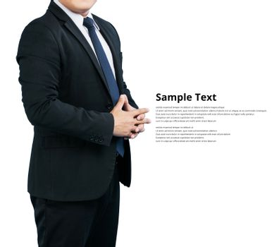 Men businessman wear suits hands successful isolate on white background clipping path