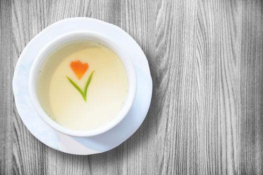 Steamed Egg on white wood background copy space