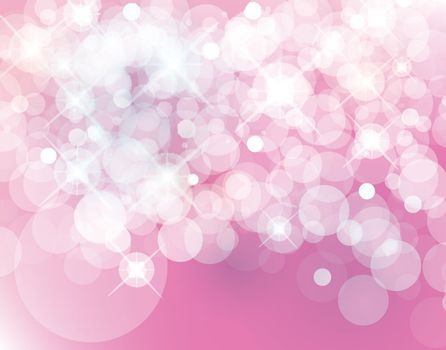light pink Vector bokeh background made from white lights with sparkling glitter