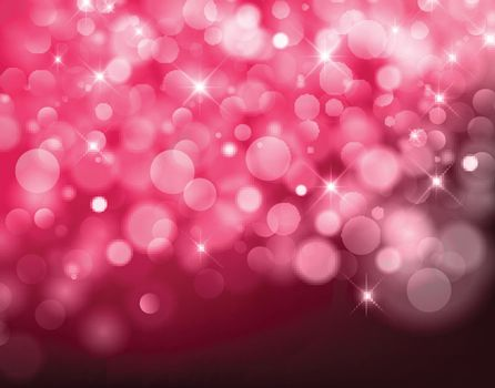 light red Vector bokeh background made from white lights with sparkling glitter