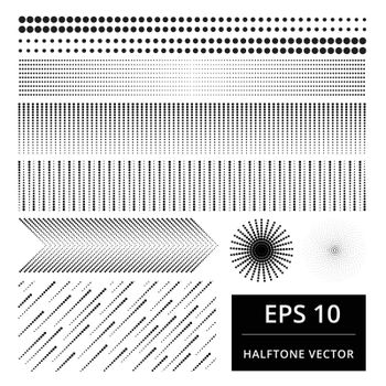set of abstract halftone vector design element