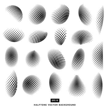 abstract black and white Halftone Vectors Circle set of Isolated Modern Design Element
