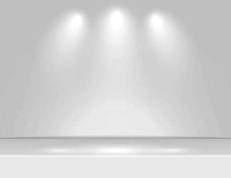 Spotlight gray light rays room studio background for use in various applications and design products vector