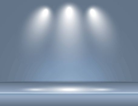 Spotlight gray blue light rays room studio background for use in various applications and design products vector