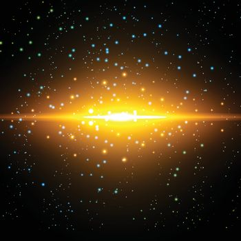 Vector infinite space background. Matrix of glowing stars with illusion of depth and perspective. Abstract cyber fiery sunrise over sea. Abstract futuristic universe on dark background.