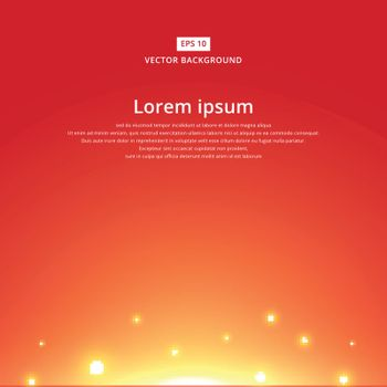 The sun rising with bright red sky background copy space vector