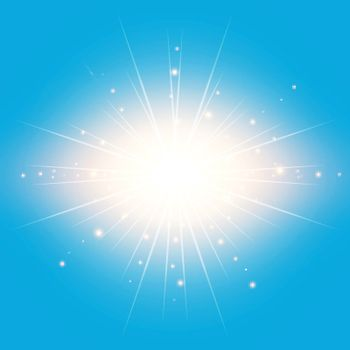 The sun in the blue sky background with lighting effect Vector illustration