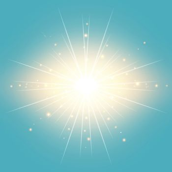 The sun in the blue sky vintage background with lighting effect Vector illustration
