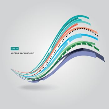 Multi-color curve line abstraction vector illustration on white background
