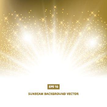 golden background sunbeam with gold glitter vector