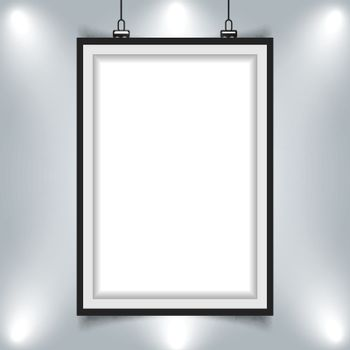 modern picture frame hanging on wall with spotlight vector