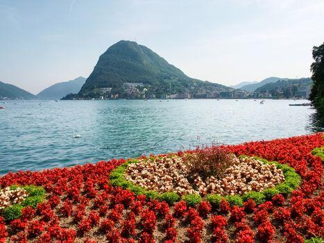 Lugano, Switzerland: Images of the Gulf of Lugano and Ciani park, botanical park of the city.